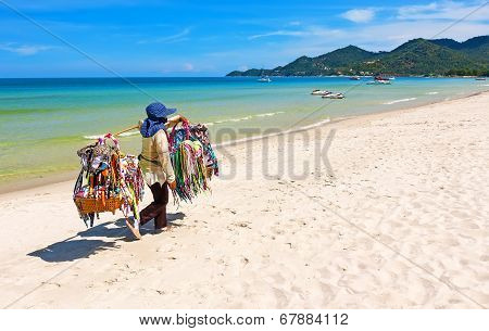 Thai Woman Selling Beachwear At Beach In Koh Samui, Thailand.