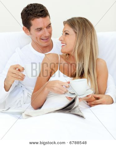 Enamored Couple Drinking A Cup Of Tea