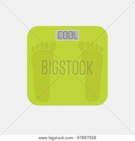 Bathroom Floor Electronic Weight Scale With Word Cool. Flat Design Style.