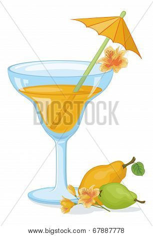 Glass with drink, fruits and flowers