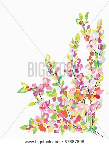 Flower border card for greeting card - hand drawn
