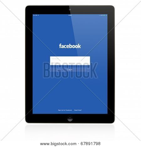 Facebook Login page on Apple iPad screen