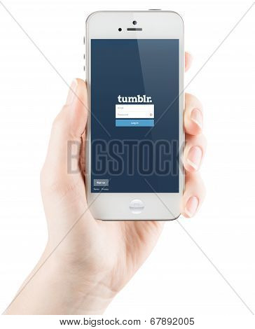 Tumblr Login page on Apple iPhone screen