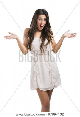 Beautiful woman with a astonished expression, isolated over a white background
