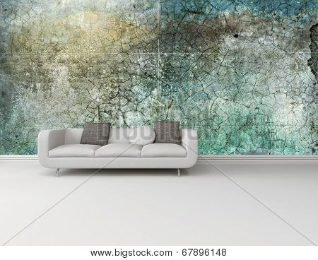 White couch against an abstract green wall on a plain white floor in an interior decor and architectural background with plenty of copyspace