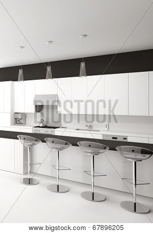 Modern open-plan black and white kitchen interior with a counter and bar stools