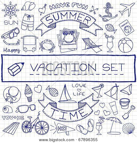 handdrawn vacation icons