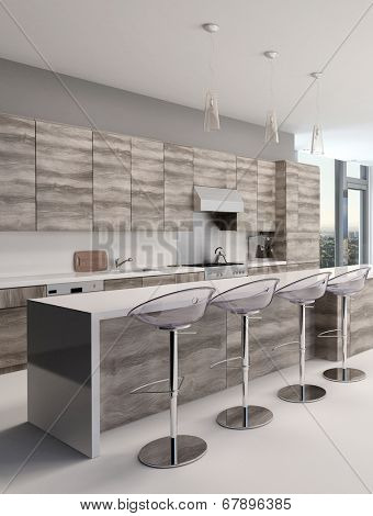 Rustic style wooden open-plan kitchen interior with a long bar counter and stools