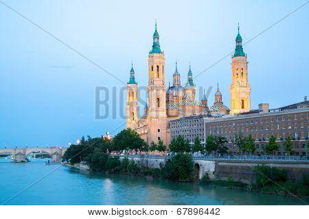 Our Lady of the Pillar Basilica with Ebro River Zaragoza, Spain