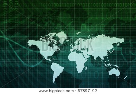 Business Technology Background With World Map Art