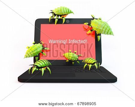 Viruses Attack Laptop