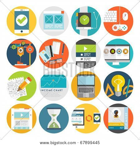 Set of Flat Style Icons. Mobile Phones, Tablet PC and Communication Technologies, Idea Concept with Lamp, Time is Money Icons. Money Management and Online Marketing