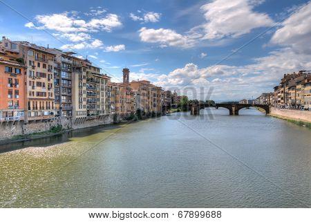 Ponte Santa Trinita medieval Bridge in Florence Italy