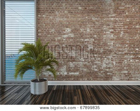 Modern rustic face brick interior decor with an empty room with a potted palm on a wooden parquet floor in front of a window with blinds overlooking the sea