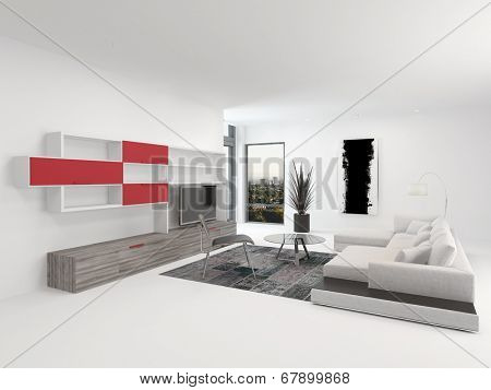 Upmarket modern living room interior with vivid red accents and white decor with a comfortable modular lounge suite and white wooden wall cabinets with a TV