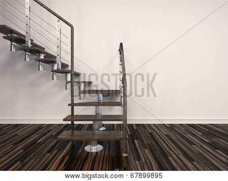 Set of modern internal steps in a house with open treads and a wire balustrade curving up to the left against a white wall from a parquet floor