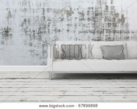 Grunge rustic greyscale interior decor background with a white sofa against a patterned abstract wall with old worn wooden white painted floor boards
