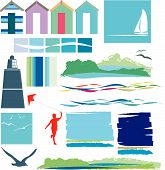picture of beach hut  - illustration of a set of beach icons and symbols - JPG