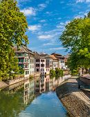 stock photo of petition  - Canal in Petite France area Strasbourg France - JPG
