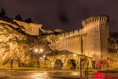 stock photo of avignon  - Defensive walls of Avignon a UNESCO heritage site in France - JPG
