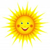 image of freckle face  - Cute smiling orange sun cartoon isolated on white background element for design - JPG