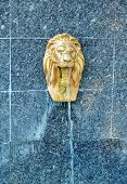 pic of stone sculpture  - Lion water fountain sculpture - JPG