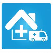 foto of ambulance car  - ambulance car and medical home in blue button - JPG