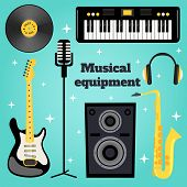 image of sax  - Music equipment set of guitar vinyl disk keyboard sax microphone isolated vector illustration - JPG