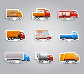 image of lorries  - Realistic truck lorry transport van auto paper stickers set isolated vector illustration - JPG