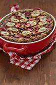 image of pecan nut  - Strawberry Banana Oatmeal with chocolate and pecan nuts - JPG