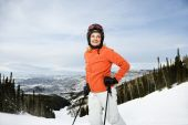 Female Skier On Ski Slope