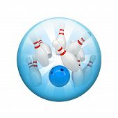 pic of spherical  - Bowling ball and skittles - JPG