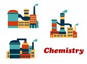 stock photo of belching  - Colorful flat buildings of chemical factories - JPG