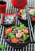 stock photo of rice noodles  - salad from rice noodles with a tuna an Asian style
