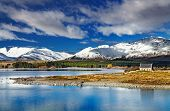 stock photo of shepherds  - Lake Tekapo and Church of the Good Shepherd - JPG
