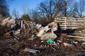stock photo of landfills  - Piles of garbage construction debris and concrete blocks on the landfill - JPG