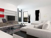 image of shelving unit  - Modern living room interior with a large television set in wall - JPG