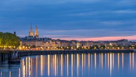 stock photo of bordeaux  - View on Bordeaux in the evening  - JPG
