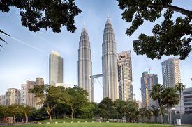 image of petronas towers  - Petronas Towers and KLCC Park in Kuala Lumpur - JPG