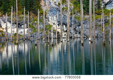 Kaindy Lake In Tien Shan Mountain, Kazakhstan. Reflections On Water.
