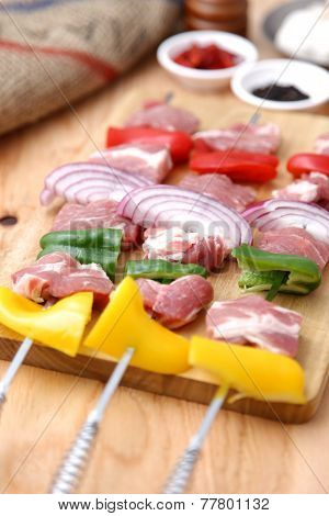 Uncooked Fresh Meat With Vegetable