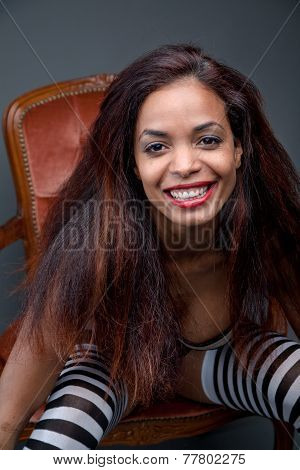 Smiling Afro-american Model On Striped Stockings