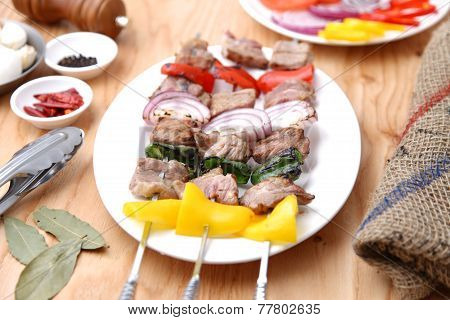 Skewered Fresh Meat With Vegetable