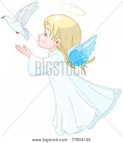 Beautiful angel releases doves in the sky