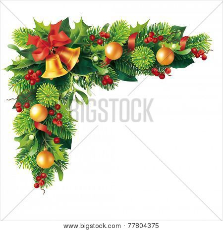 Christmas fir garland on white. Vector eps 10.