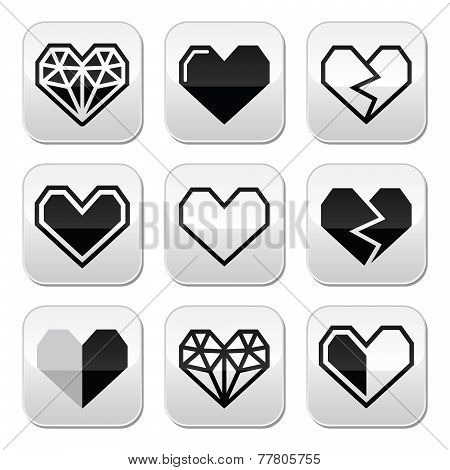 Geometric heart for Valentine's Day grey square buttons