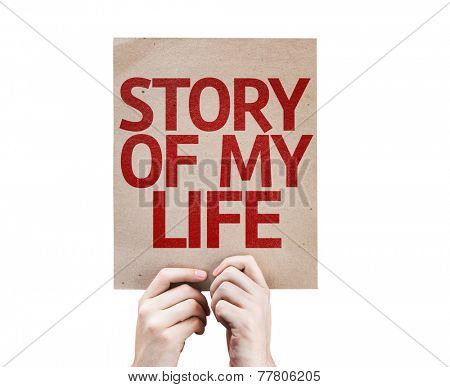Story Of My Life card isolated on white background