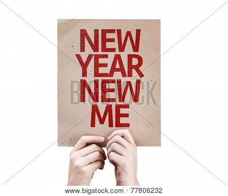 New Year New Me card isolated on white background