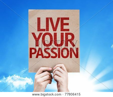 Live Your Passion card with sky background