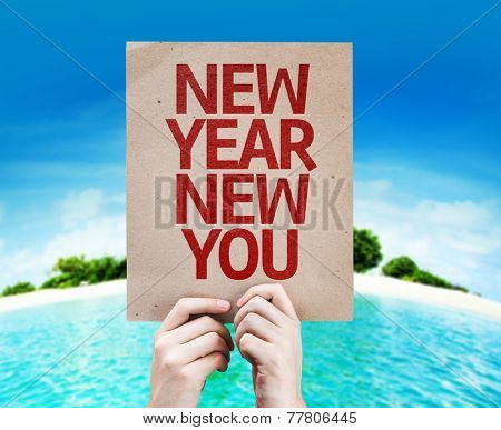 New Year New You card with a beach on background